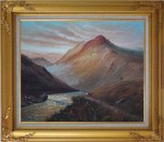 Water Weir Under Giant Mountain Oil Painting Landscape Classic Gold Wood Frame with Deco Corners 27 x 31 inches