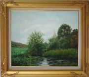 A Green Pond Covered with Lotus, Weeds and Floating Plants Oil Painting Landscape River Classic Gold Wood Frame with Deco Corners 27 x 31 inches