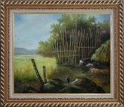 Backyard of a Farm Oil Painting Garden Classic Exquisite Gold Wood Frame 26 x 30 inches