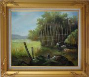 Backyard of a Farm Oil Painting Garden Classic Gold Wood Frame with Deco Corners 27 x 31 inches