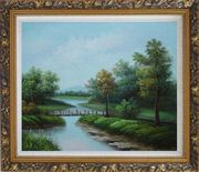 Wood Bridge Over a Scenic River Oil Painting Landscape Classic Ornate Antique Dark Gold Wood Frame 26 x 30 inches