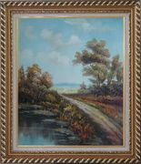 Country Road, Take Me Home Oil Painting Landscape River Classic Exquisite Gold Wood Frame 30 x 26 inches