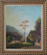 Down the Slope Oil Painting Village Classic Exquisite Gold Wood Frame 30 x 26 inches