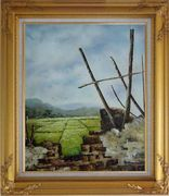 Old Broken Wall in a Farm Field Oil Painting Village Classic Gold Wood Frame with Deco Corners 31 x 27 inches