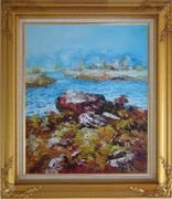 Limpid Water In Autumn Oil Painting Seascape Impressionism Gold Wood Frame with Deco Corners 31 x 27 inches