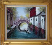 Boat Sitting Idle Under Bridge at Water Village Oil Painting China Naturalism Gold Wood Frame with Deco Corners 27 x 31 inches