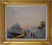 St. Mark's Square, Venice Oil Painting Italy Impressionism Gold Wood Frame with Deco Corners 27 x 31 inches