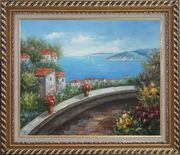 Mediterranean Dream Walk Oil Painting Naturalism Exquisite Gold Wood Frame 26 x 30 inches