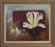 White Red Striped Tulip Oil Painting Flower Decorative Exquisite Gold Wood Frame 26 x 30 inches