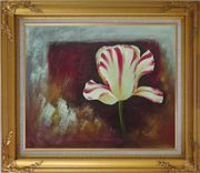 White Red Striped Tulip Oil Painting Flower Decorative Gold Wood Frame with Deco Corners 27 x 31 inches