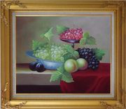 Still Life With Peaches And Grapes Oil Painting Fruit Classic Gold Wood Frame with Deco Corners 27 x 31 inches