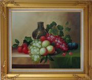 Grapes, Peaches, Plums, with Black Jar in Still Life Oil Painting Fruit Wine Classic Gold Wood Frame with Deco Corners 27 x 31 inches