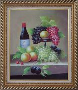 Still Life with Wine Bottle, Grapes, Peaches and Plums Oil Painting Fruit Classic Exquisite Gold Wood Frame 30 x 26 inches