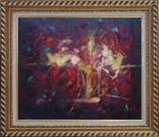 Modern Flower in a Strong Red Background Oil Painting Nonobjective Exquisite Gold Wood Frame 26 x 30 inches