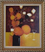 Still Life Pears with Glass Oil Painting Fruit Decorative Exquisite Gold Wood Frame 30 x 26 inches