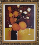 Still Life Pears with Glass Oil Painting Fruit Decorative Ornate Antique Dark Gold Wood Frame 30 x 26 inches