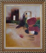Objects in Front of Wall with Doors Oil Painting Cityscape Decorative Exquisite Gold Wood Frame 30 x 26 inches