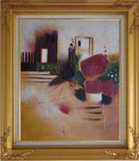 Objects in Front of Wall with Doors Oil Painting Cityscape Decorative Gold Wood Frame with Deco Corners 31 x 27 inches