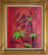 Green in Red Oil Painting Flower Decorative Gold Wood Frame with Deco Corners 31 x 27 inches