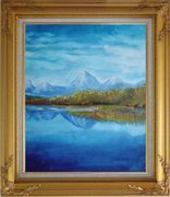 Reflections of Snow Mountains and Yellow Trees on Lake Oil Painting Landscape River Impressionism Gold Wood Frame with Deco Corners 31 x 27 inches
