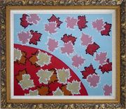 Red Maple Leaf Modern Oil Painting Flower Ornate Antique Dark Gold Wood Frame 26 x 30 inches