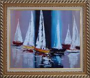 Fully Riggled Sailing Boats Modern Oil Painting Boating Exquisite Gold Wood Frame 26 x 30 inches