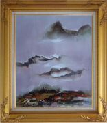 Mountains and Village in Clouds Oil Painting Landscape Asian Gold Wood Frame with Deco Corners 31 x 27 inches