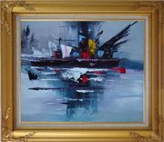Modern Harbor-side Ship Oil Painting Boat Gold Wood Frame with Deco Corners 27 x 31 inches