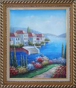 Mediterranean Seaside Villa Oil Painting Naturalism Exquisite Gold Wood Frame 30 x 26 inches