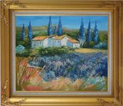 Countryside Houses and Fields Scenery Oil Painting Village Impressionism Gold Wood Frame with Deco Corners 27 x 31 inches