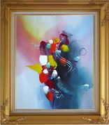 Spring Blooming Flowers Modern Oil Painting Nonobjective Decorative Gold Wood Frame with Deco Corners 31 x 27 inches