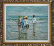 Summer day, Brighton Beach, Edward Henry Potthast Replica Oil Painting Portraits Child Impressionism Ornate Antique Dark Gold Wood Frame 26 x 30 inches