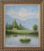 Boating in Scenic River Oil Painting Landscape Naturalism Exquisite Gold Wood Frame 30 x 26 inches
