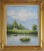 Boating in Scenic River Oil Painting Landscape Naturalism Gold Wood Frame with Deco Corners 31 x 27 inches