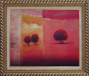 Red Tree Landscape in Sunset Oil painting Modern Exquisite Gold Wood Frame 26 x 30 inches