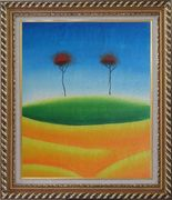 Two Contemporary Abstract Red Trees Oil Painting Landscape Modern Exquisite Gold Wood Frame 30 x 26 inches
