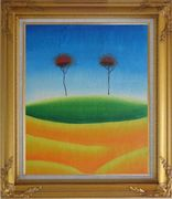 Two Contemporary Abstract Red Trees Oil Painting Landscape Modern Gold Wood Frame with Deco Corners 31 x 27 inches