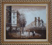 Pedestrian Walk on Street Scene at Dusk Near Notre Dame Oil Painting Cityscape France Impressionism Exquisite Gold Wood Frame 26 x 30 inches
