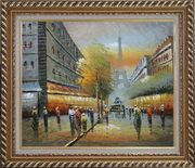 Impressionist Paris Street Cityscape in Early 19th Century Oil Painting France Impressionism Exquisite Gold Wood Frame 26 x 30 inches