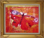 Red Butterfly In Red Background Oil Painting Animal Modern Gold Wood Frame with Deco Corners 27 x 31 inches