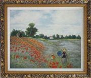 Field of Poppies, Monet Replica Oil Painting Landscape Portraits Impressionism Ornate Antique Dark Gold Wood Frame 26 x 30 inches