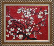 Branches of Blossoming Almond Tree in Red, Van Gogh Reproduction Oil Painting Flower Post Impressionism Exquisite Gold Wood Frame 26 x 30 inches
