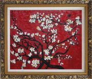 Branches of Blossoming Almond Tree in Red, Van Gogh Reproduction Oil Painting Flower Post Impressionism Ornate Antique Dark Gold Wood Frame 26 x 30 inches