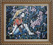 A Girl Relaxes in a Fruit Garden - Contemporary Oil Painting Portraits Woman Asian Exquisite Gold Wood Frame 26 x 30 inches