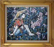 A Girl Relaxes in a Fruit Garden - Contemporary Oil Painting Portraits Woman Asian Gold Wood Frame with Deco Corners 27 x 31 inches