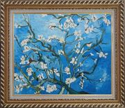 Branches of Almond Tree in Blossom, Van Gogh Reproduction Oil Painting Flower Post Impressionism Exquisite Gold Wood Frame 26 x 30 inches