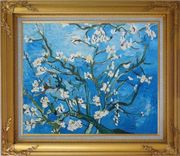 Branches of Almond Tree in Blossom, Van Gogh Reproduction Oil Painting Flower Post Impressionism Gold Wood Frame with Deco Corners 27 x 31 inches