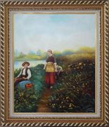 A Passing Conversation Oil Painting Portraits Couple Classic Exquisite Gold Wood Frame 30 x 26 inches