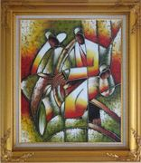 Picasso Reproduction - Playing Music Instruments Oil Painting Portraits Couple Modern Cubism Gold Wood Frame with Deco Corners 31 x 27 inches