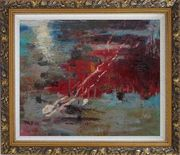 Pond Reflections Oil Painting Nonobjective Impressionism Ornate Antique Dark Gold Wood Frame 26 x 30 inches
